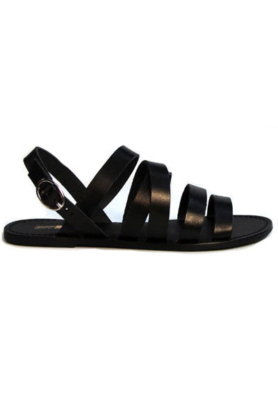 MANAWA BLACK WEAVE SLINGBACK LEATHER SANDALS