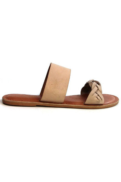 MOLOKAI IVORY LEATHER SLIDE SANDALS