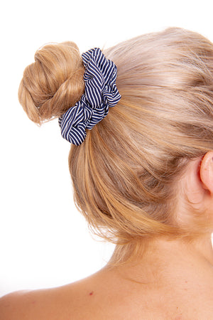 Navy Striped Scrunchie