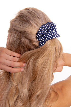 Navy Poka Dot scrunchie