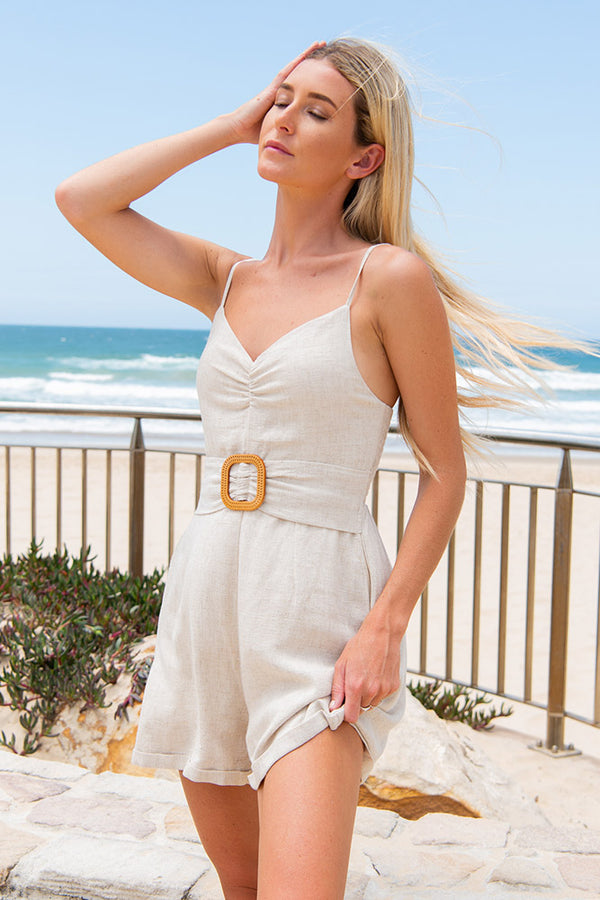 Palm Cove Playsuit Beige