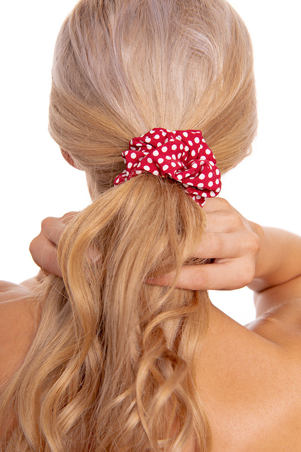 Red Poka Dot Scrunchie