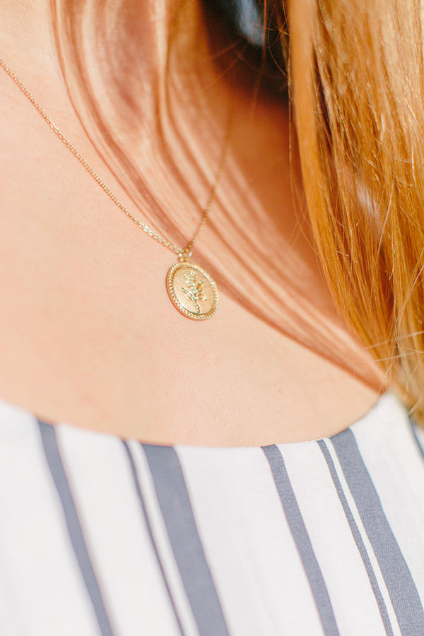 Gold Rose Coin Pendant Necklace