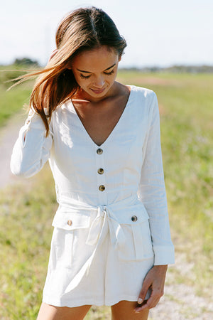 Safari Babe Playsuit White