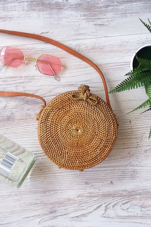 Small natural round cane bag