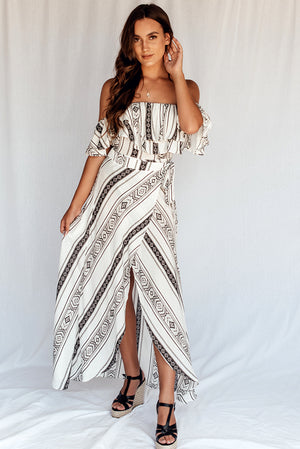 Solace Empire Maxi Dress Black Stripe