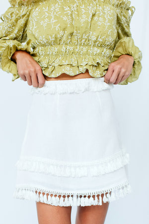 Wolf Dance Skirt White