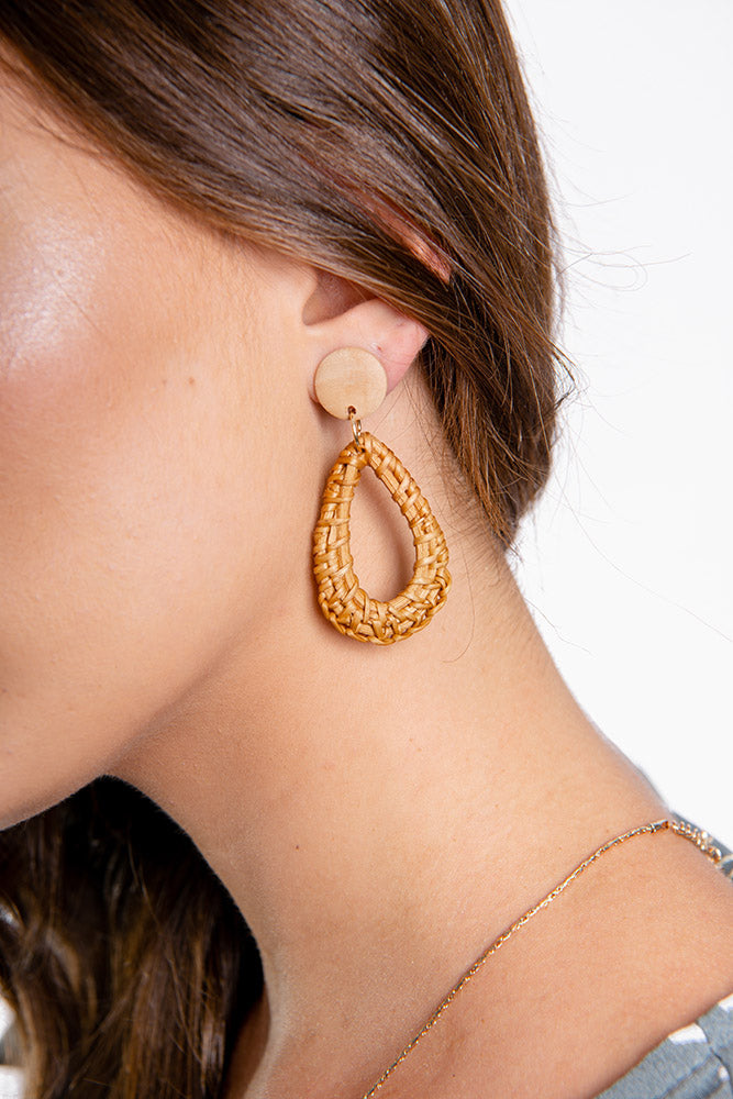 World of Weave Earrings Tan