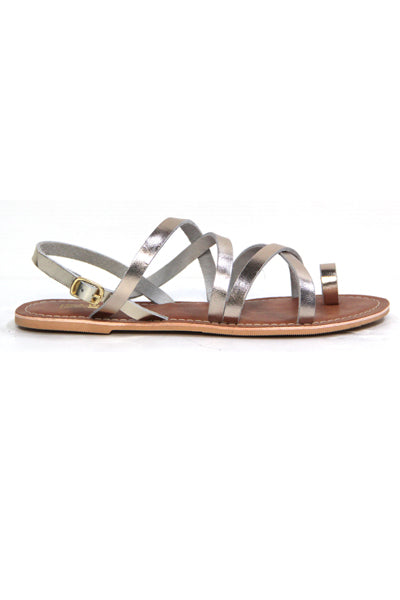 KOTU GOLD LEATHER FLAT SANDALS