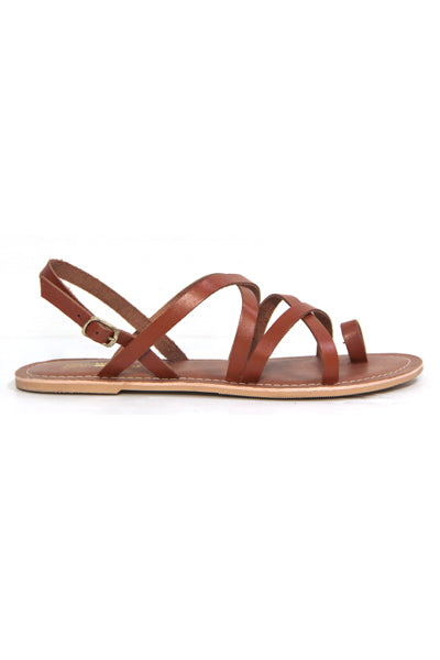 KOTU TAN LEATHER FLAT SANDALS