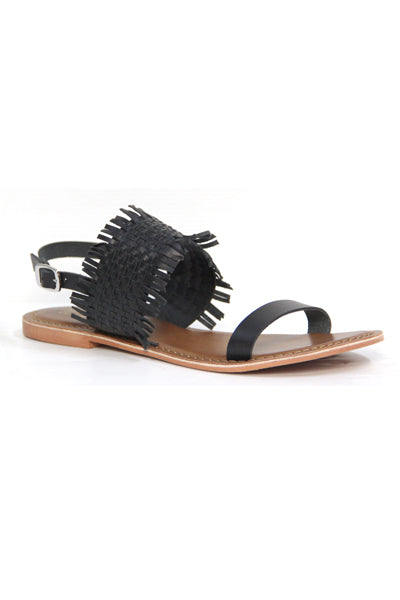 KULAA LEATHER BLACK WEAVE SANDALS