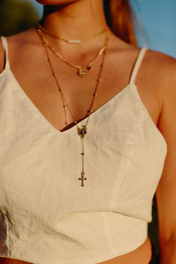 Gold Layered Rosary Beads Necklace