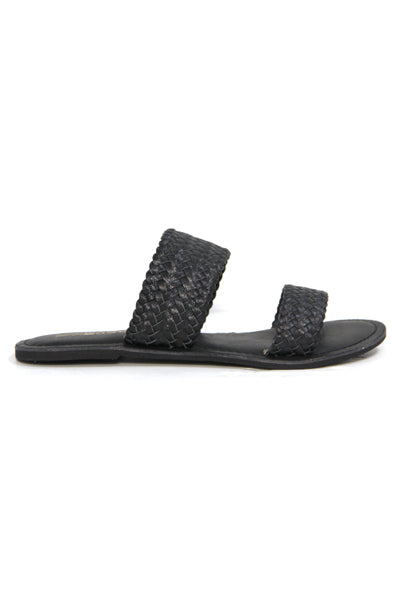 TONGA LEATHER BLACK WEAVE SLIP SANDAL