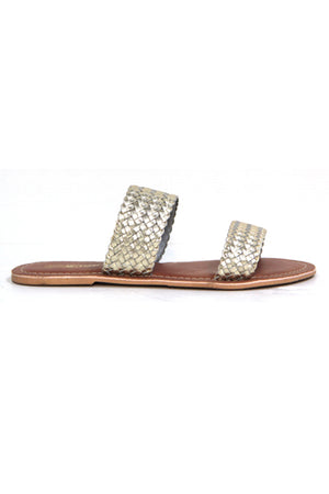 TONGA LEATHER GOLD WEAVE SLIP SANDAL