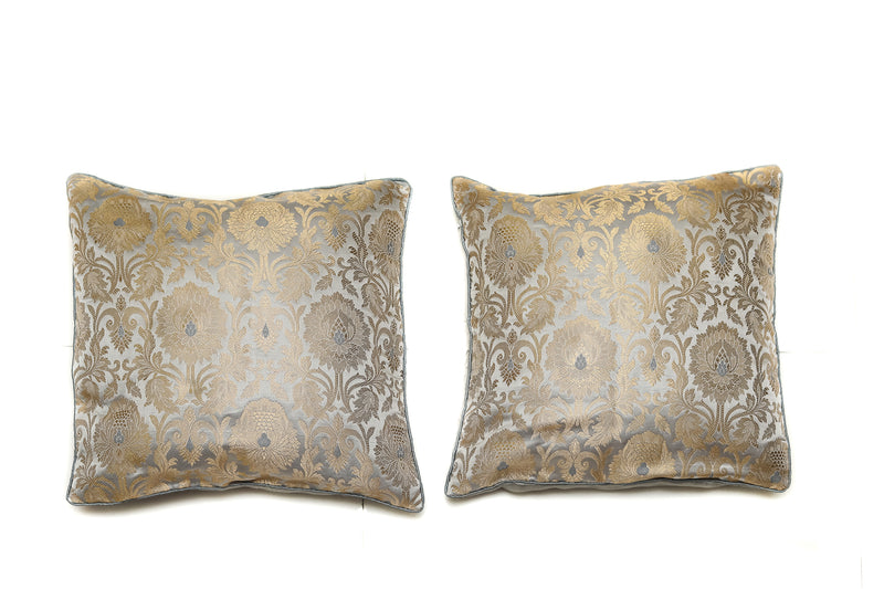 Shalinindia Decorative Silk Cushion Covers in Traditional Paisley Motifs Set Of 2 Grey Color Throw Pillow16 X 16 Inches(SI_CC_06)