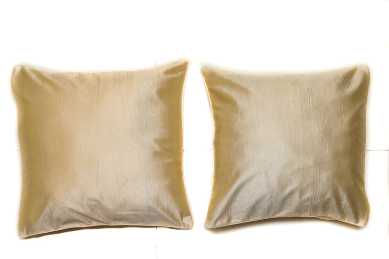Shalinindia Dazzling Exquisite Solid Pattern Cotton Gold Throw Pillow with Satin Back Covers 16 X 16 Inches Set Of 2(SI_W_04)