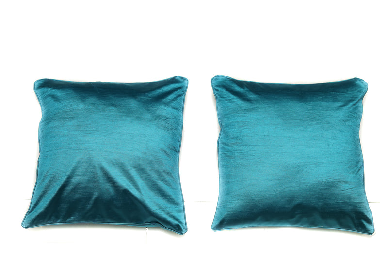Shalinindia Dazzling Exquisite Solid Pattern Cotton Aqua  Throw Pillow with Satin Back Covers 16 X 16 Inches Set Of 2(SI_W_08)