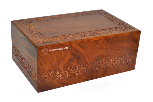"Hind Handicrafts Beautifully Handmade & Handcrafted Rosewood Borders Engraving Wooden Cremation Box/Urns for Human Ashes Adult, Funeral Urn Box (X-tra Large : 11"" x 7.25"" x 4.5"" - 260lbs or 118kg)"