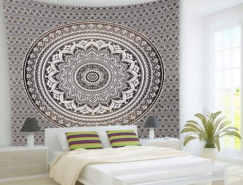 Grey Tapestry Indian Mandala Wall Tapestry Hanging Mandala Tapestries Ombre Indian Cotton Bedspread Picnic Blanket Twin Tapestry Blanket Throw Wall Blanket Art Hippie Tapestry Boho Wall Decor