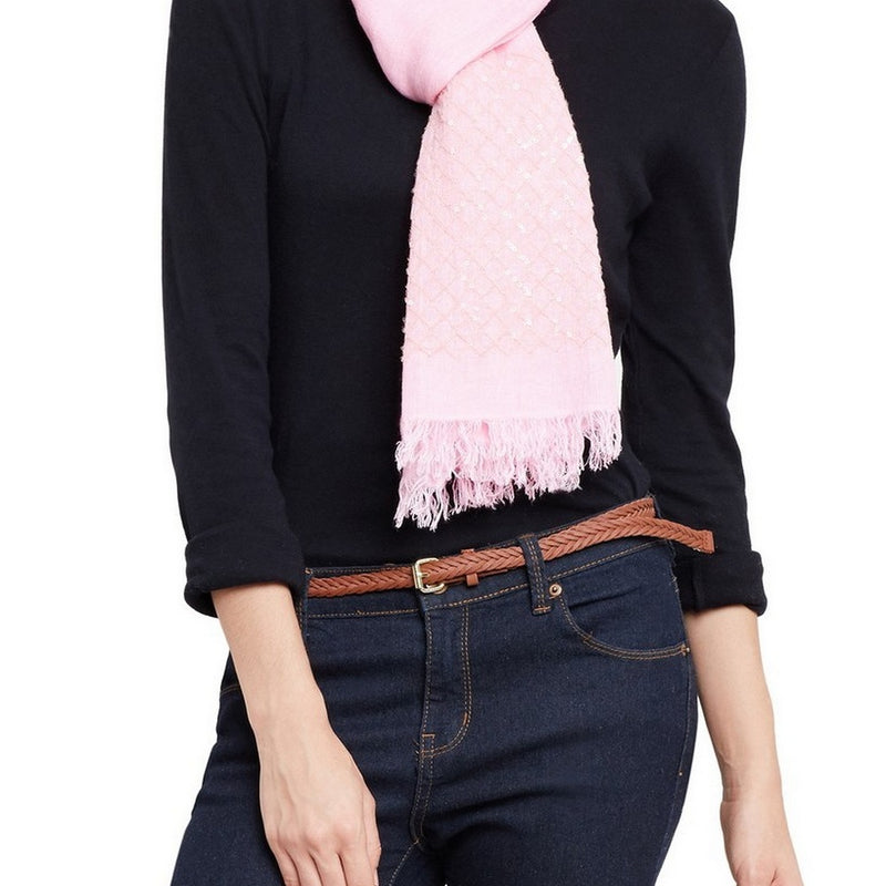 Women Scarf Blend Of Modal And Linen Sequence Work Soft Light,27X70 Inch,Pink
