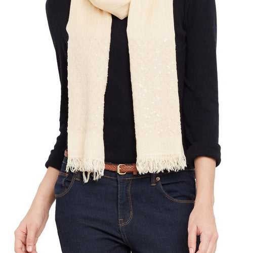 Women Scarf Blend Of Modal And Linen Sequence Work Soft Light,27X70 Inch,Vanilla