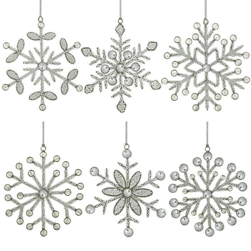 Christmas ornaments for decorating the tree set of 6 snowflakes size 6 inches