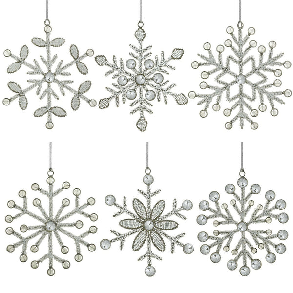 Set of 6 Handmade Snowflake Iron and Glass Pendant Christmas Tree Ornaments