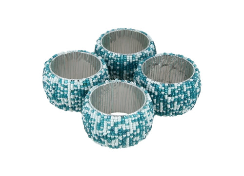 Indian beaded napkin rings and holders teal and white decorations