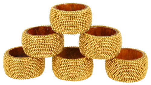 Set of 6 gold beaded napkin rings and holders for dining table decor