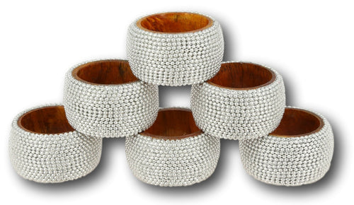 Silver beaded napkin rings set of 6 indian table decorations for dinner
