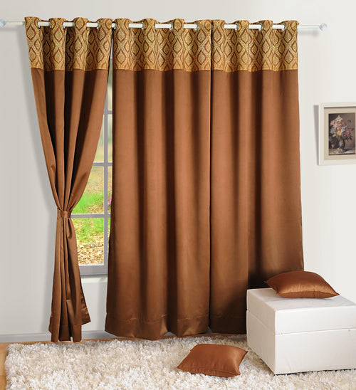 ShalinIndia Semi Blackout Polyester Curtain Panels For Doors and Windows With Eyelets Indian Home DŽcor - 48 x 95 Inch - Brown