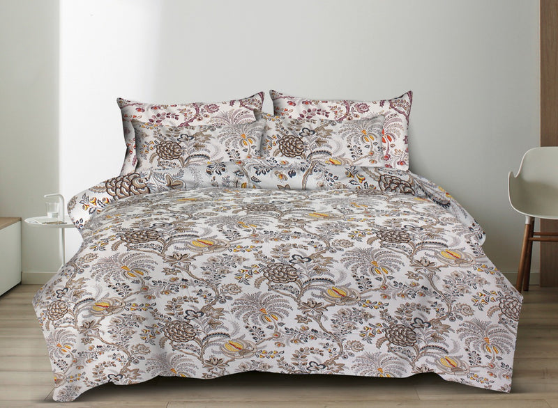 Comfort Jaipuri Super King Cotton Traditional Print Bedsheet White and Brown Color Floral Bedspread for Double Bed Size (100x108 Inch) With Pillow Covers(BPJ_006)