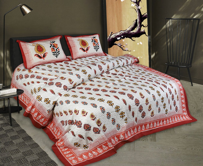 Comfort Jaipuri Super King Cotton Traditional Print Bedsheet Red and White Color Floral Bedspread for Double Bed Size (100x108 Inch) With Pillow Covers(BPJ_007)