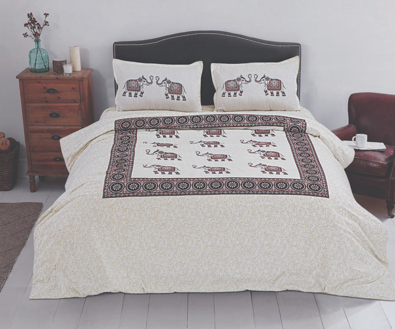 Comfort Jaipuri Super King Cotton Traditional Print Bedsheet Cream Color Elephant Print Design Bedspread for Double Bed Size (100x108 Inch) With Pillow Covers(BPJ_009)