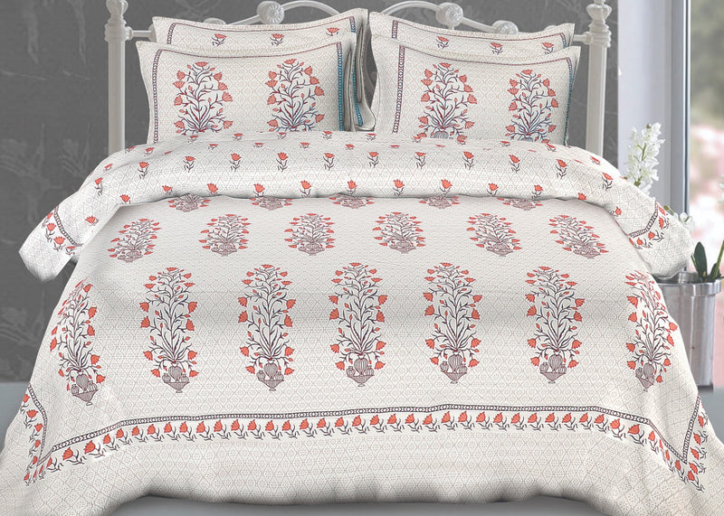Comfort Jaipuri Super King Cotton Traditional Print Bedsheet Grey and Red Color Floral Bedspread for Double Bed Size (100x108 Inch) With Pillow Covers(BPJ_015)