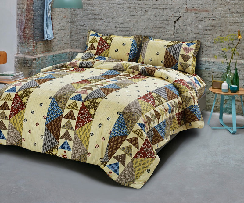 Premium Quality Super King Cotton Bedsheets Combo Double Bedspread Jaipuri Yellow Geomertical Print Traditional Design Size (100x108 Inch) With Pillow Covers(BPJ_023)