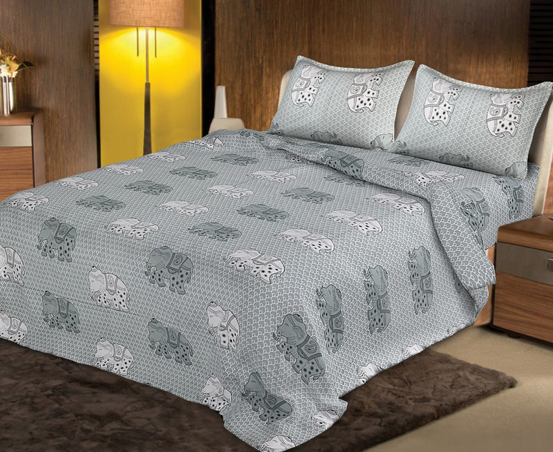 Premium Quality Super King Cotton Bedsheets Combo Double Bedspread Jaipuri Grey and White Color Elephant Print Traditional Design Size (100x108 Inch) With Pillow Covers(BPJ_027)