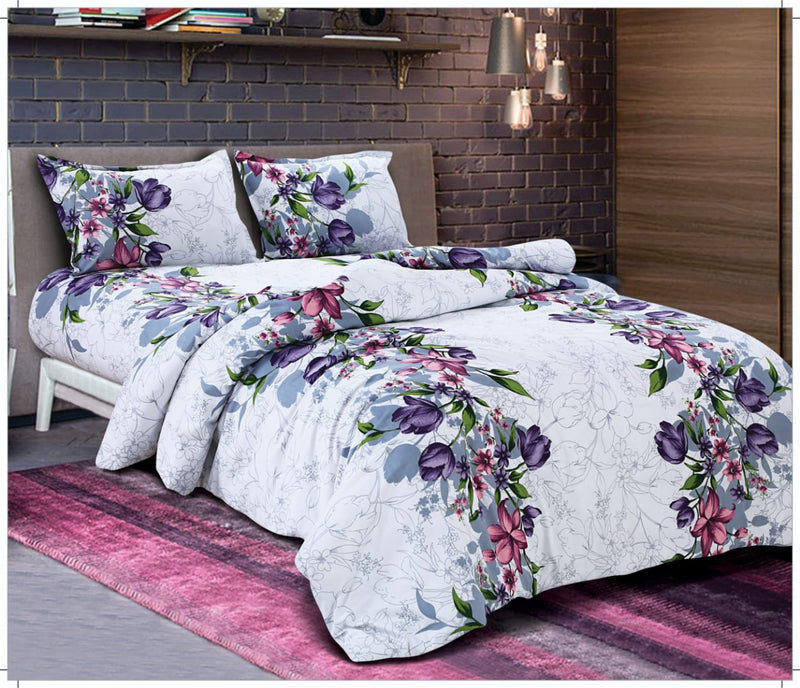 Jaipuri Fabric Cotton Traditional Beautiful Rajasthani Grey and Pink Color Floral Print Bedsheet with 2 Pillow Cover (18 X 28 Inch)Bedspread Size (100x108 Inch)(BPJ_029)