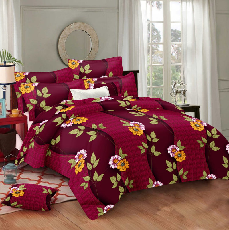 "ShalinIndia Cotton All Season Down Alternative Bed Set Printed Reversible Queen Comforters Quilted Summer Duvet Flatsheet 100 x108"" 2 Pillow Covers Magenta Maroon Floral Pattern(BS_CC_C_003)"