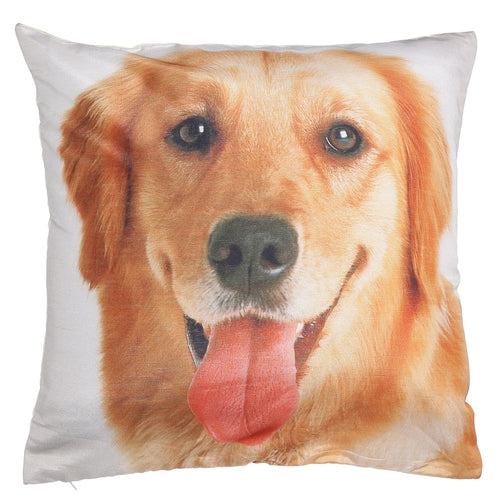 Shalinindia Digitally Printed Animal Face Cushion Cover Set Of 2,18x18 Inch,Faux Silk Dupion,Golden Retriever