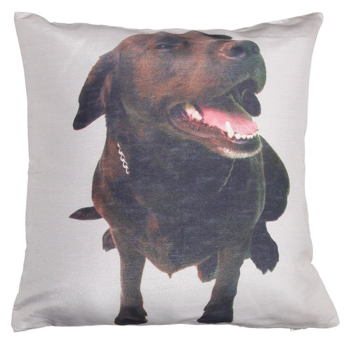 Shalinindia Digitally Printed Animal Face Cushion Cover Set Of 2,18x18 Inch,Faux Silk Dupion,Chocolate Labrador
