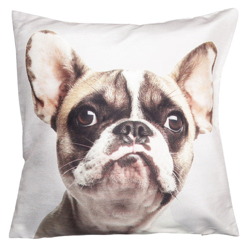Shalinindia Digitally Printed Animal Face Cushion Cover Set Of 2,18x18 Inch,Faux Silk Dupion,French Bulldog