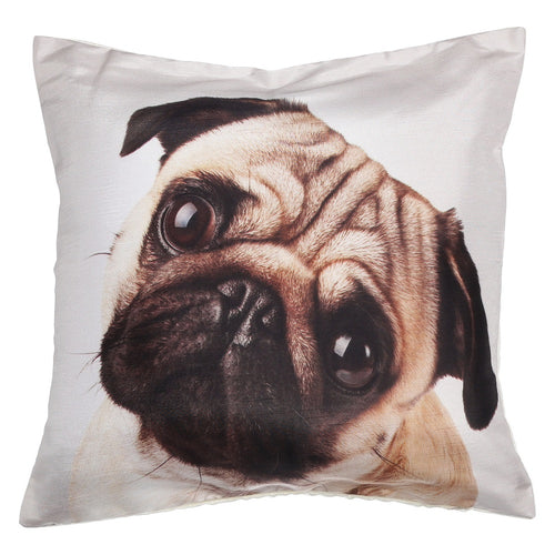 Shalinindia Digitally Printed Animal Face Cushion Cover Set Of 2,18x18 Inch,Faux Silk Dupion,Pug