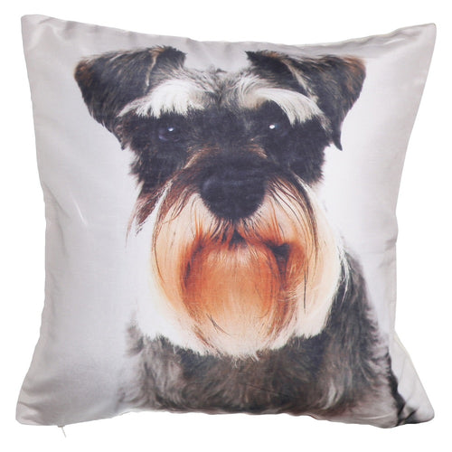 Shalinindia Digitally Printed Animal Face Cushion Cover Set Of 2,18x18 Inch,Faux Silk Dupion,Miniature Schnauzer