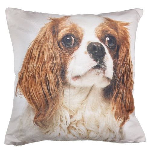 Shalinindia Digitally Printed Animal Face Cushion Cover Set Of 2,18x18 Inch,Faux Silk Dupion,Cavalier King Charles Spaniel