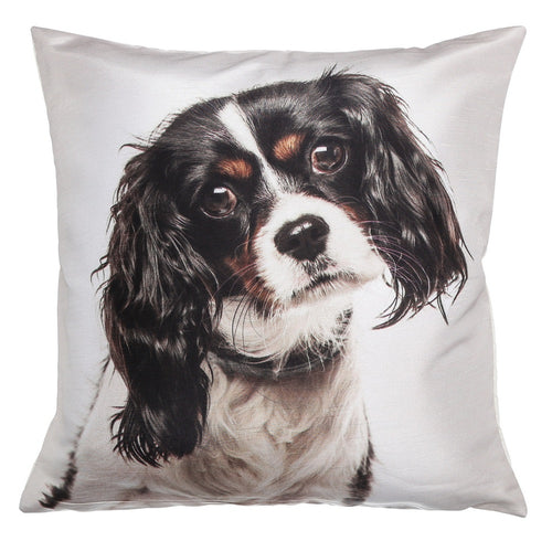 Shalinindia Digitally Printed Animal Face Cushion Cover Set Of 2,18x18 Inch,Faux Silk Dupion,King Charles Spaniel