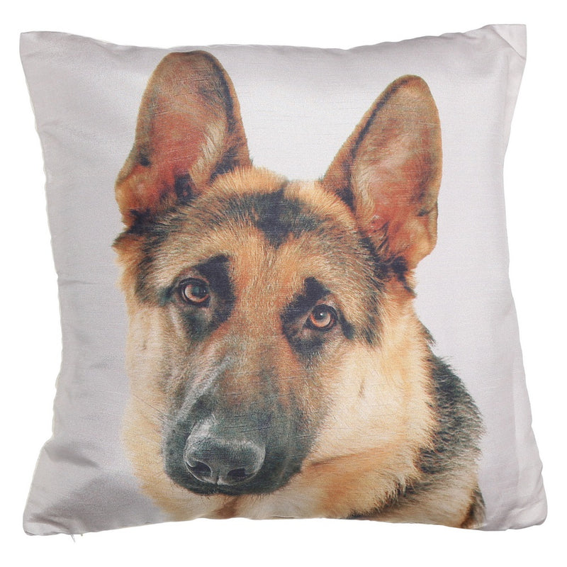Shalinindia Digitally Printed Animal Face Cushion Cover Set Of 2,18x18 Inch,Faux Silk Dupion,German Shepherd