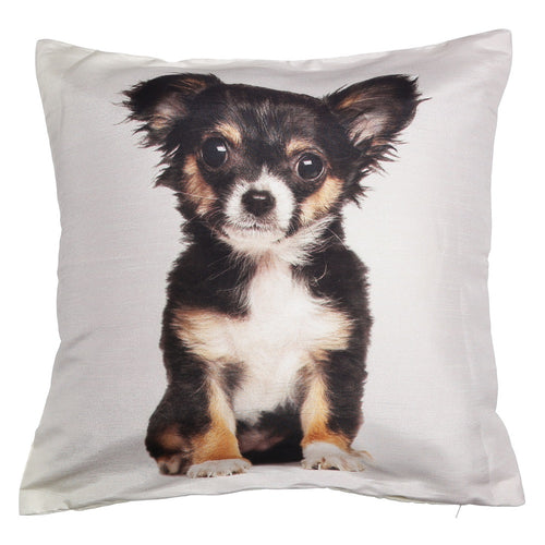 Shalinindia Digitally Printed Animal Face Cushion Cover Set Of 2,18x18 Inch,Faux Silk Dupion,Chihuahua Puppy
