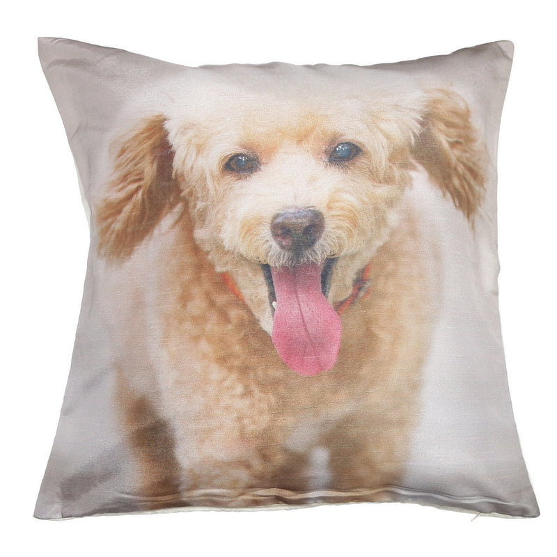 Shalinindia Digitally Printed Animal Face Cushion Cover Set Of 2,18x18 Inch,Faux Silk Dupion,Terrier Puppy Poodle