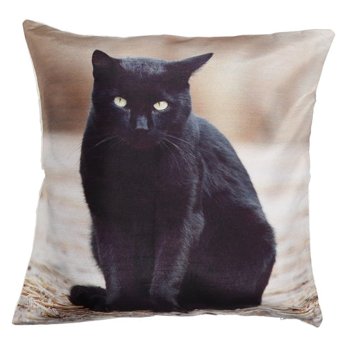 Shalinindia Digitally Printed Animal Face Cushion Cover Set Of 2,18x18 Inch,Faux Silk Dupion,Bombay Cat